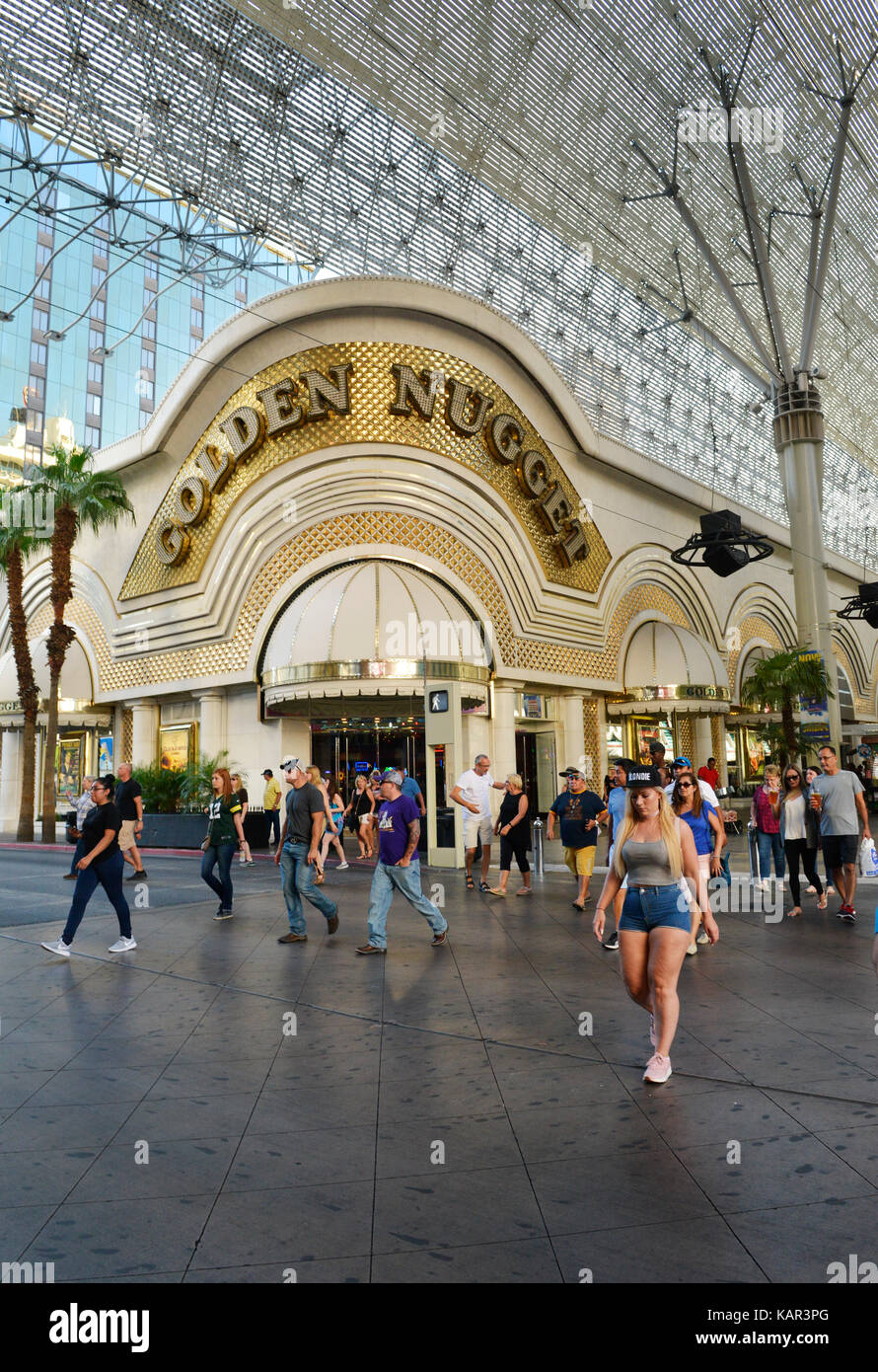 Front entrance of the Golden Nugget Casino in the Fremont district downtown Las Vegas with people in front. - Stock Image