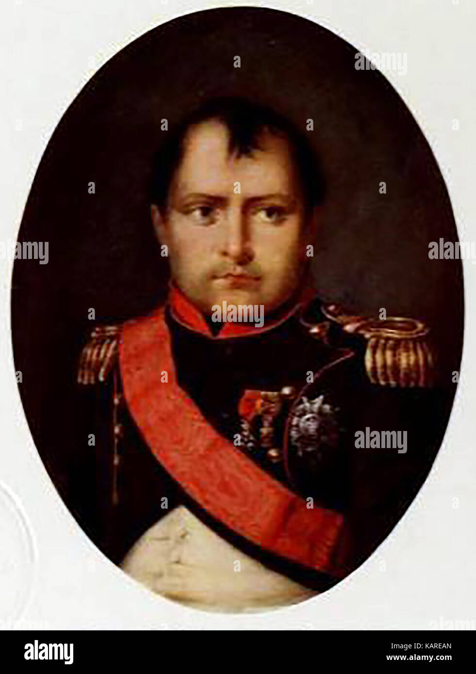 A miniature coloured portrait of napoleon Bonaparte as a young man - Stock Image