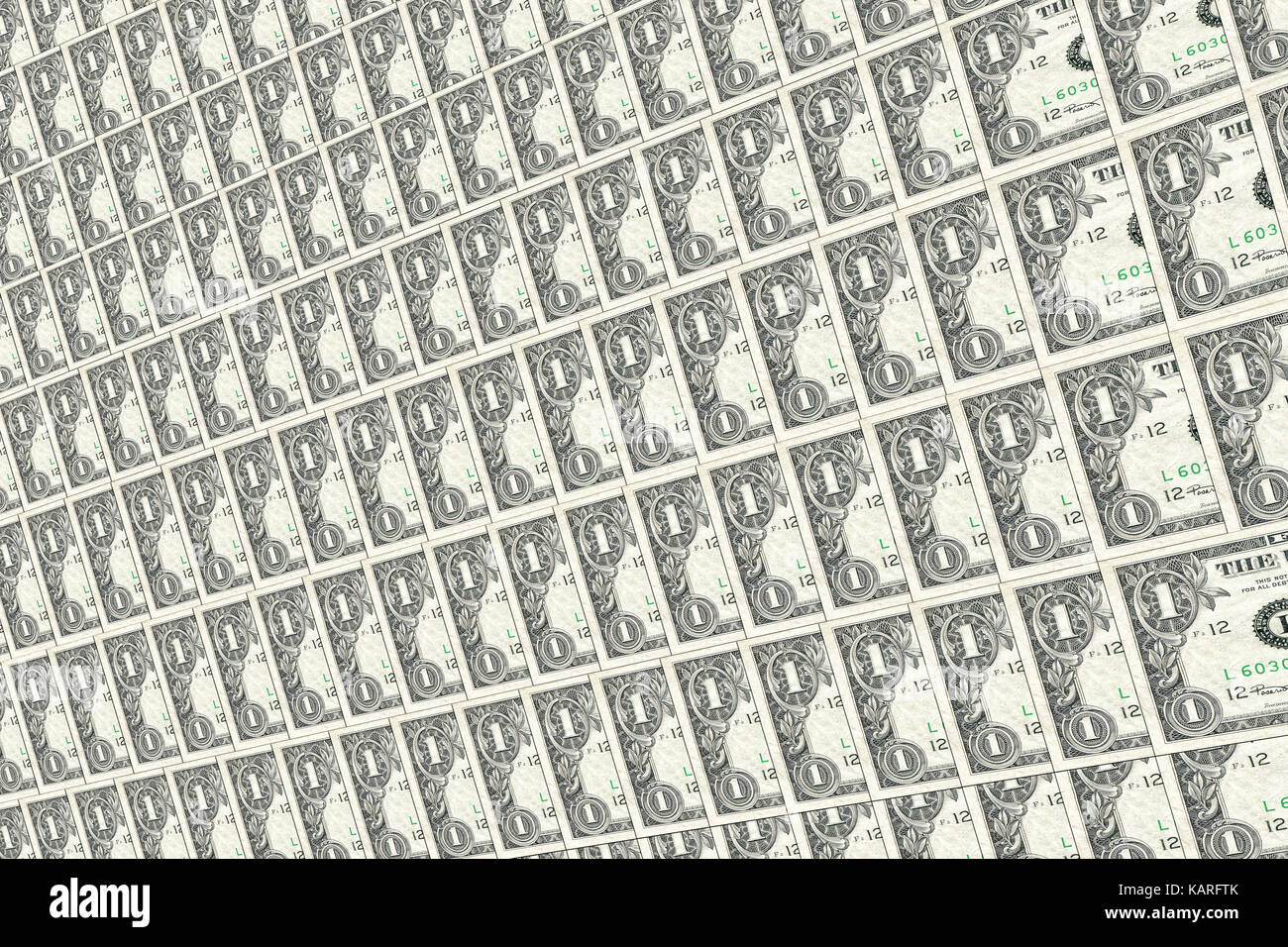 Old one dollar notes background. Textures and backgrounds. - Stock Image