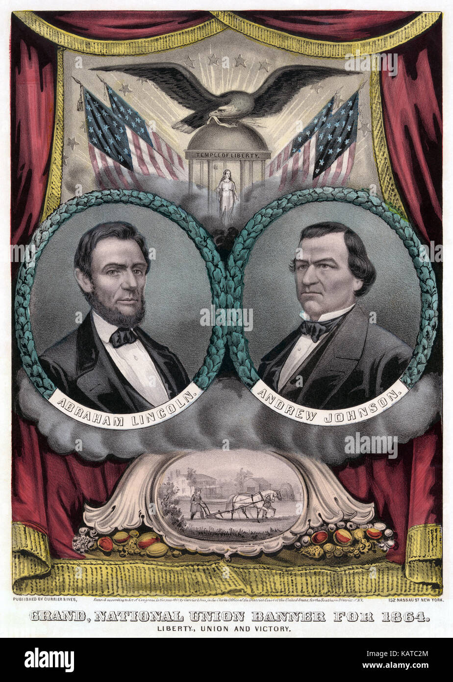 ANDREW JOHNSON (1808-1875) at right with Abraham Lincoln on a Currier & Ives poster for the US presidential - Stock Image