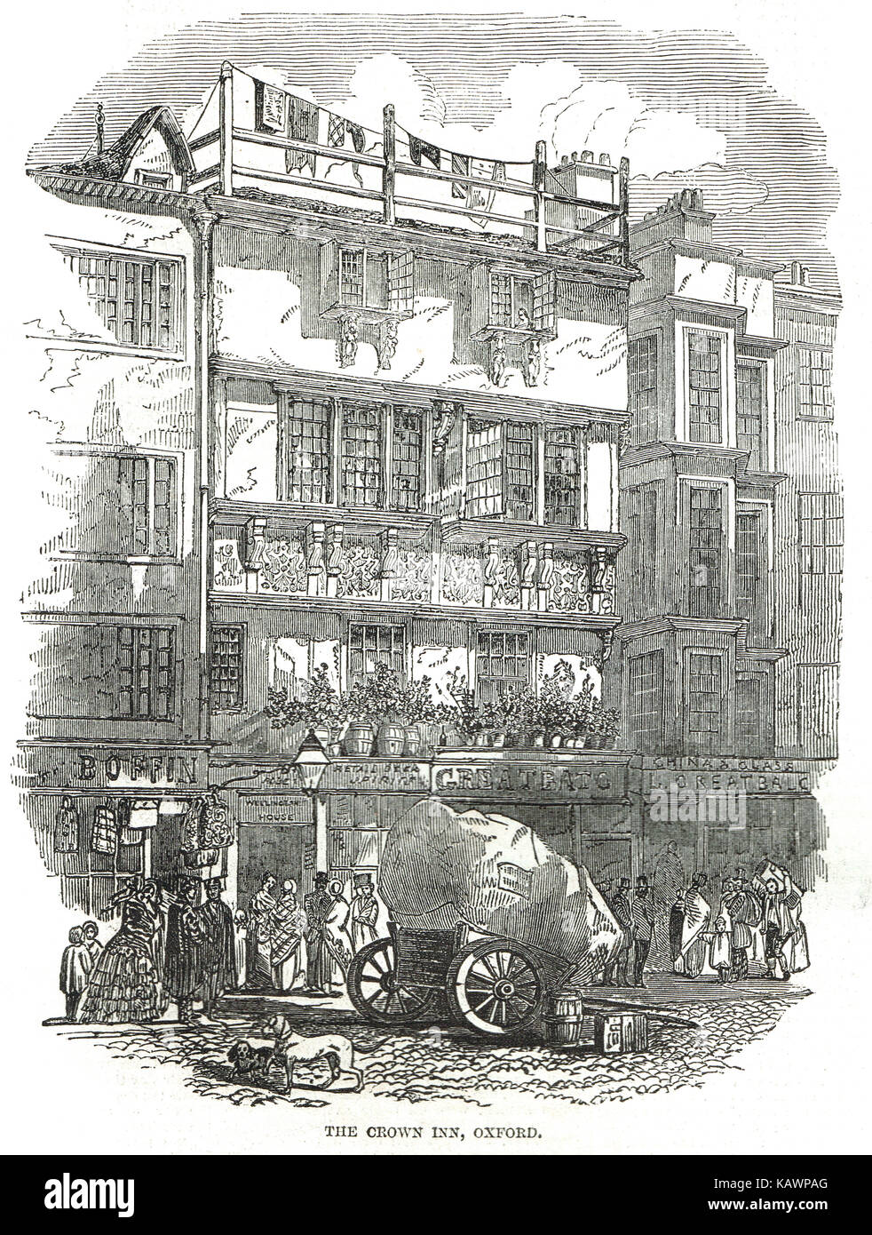 The Crown Tavern, Oxford where Shakespeare stayed, 1848 illustration - Stock Image