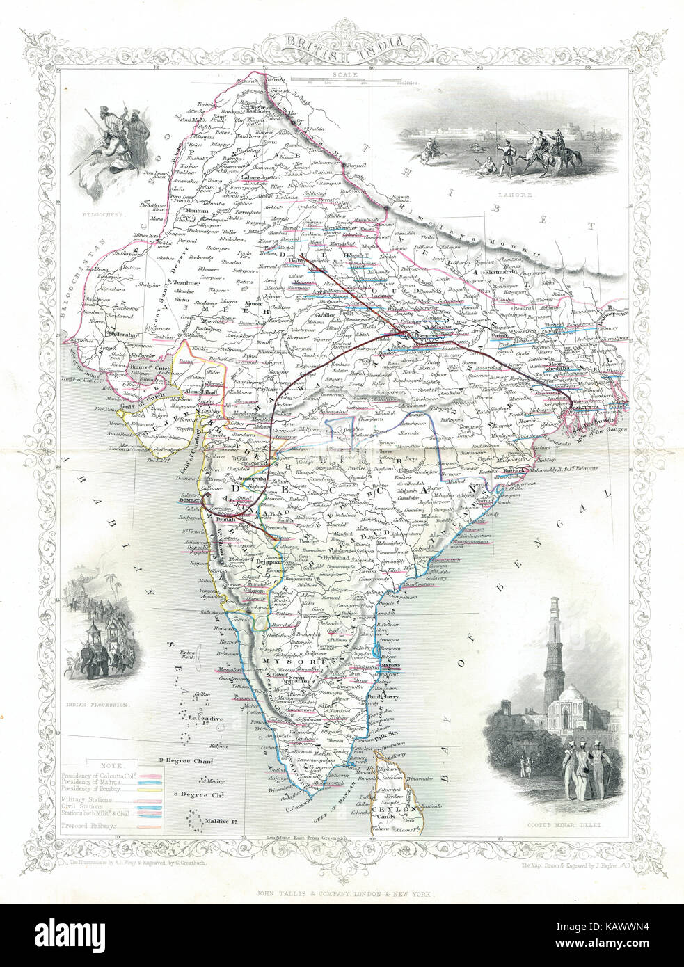 Illustrated Map of British India in the 19th Century - Stock Image