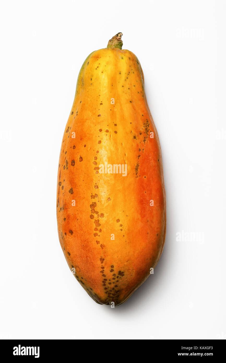 Papaya fruit (Paw Paw) whole photographed from above on white background - Stock Image