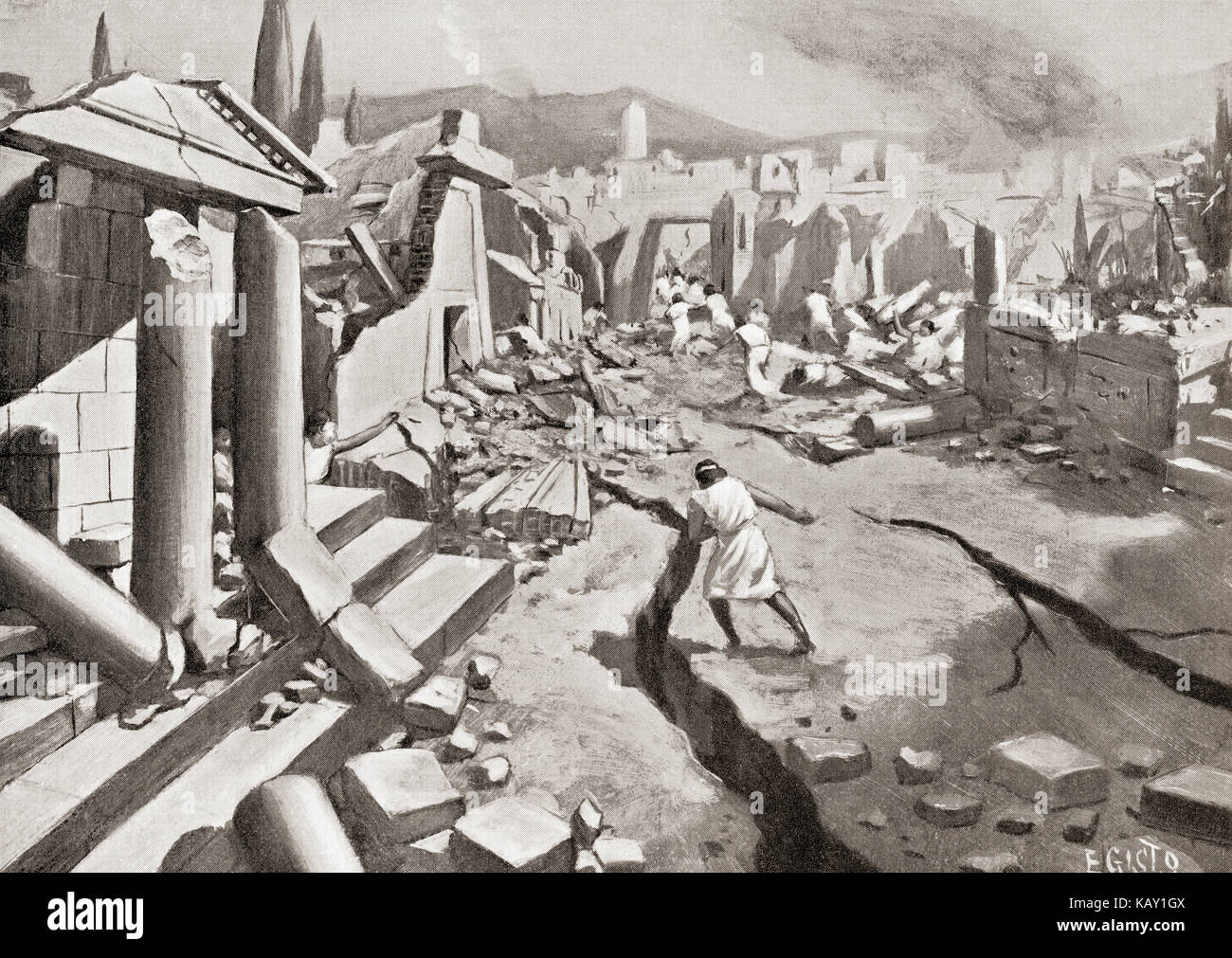 The earthquake at Sparta, ancient Greece, 464 BC.  From Hutchinson's History of the Nations, published 1915. - Stock Image