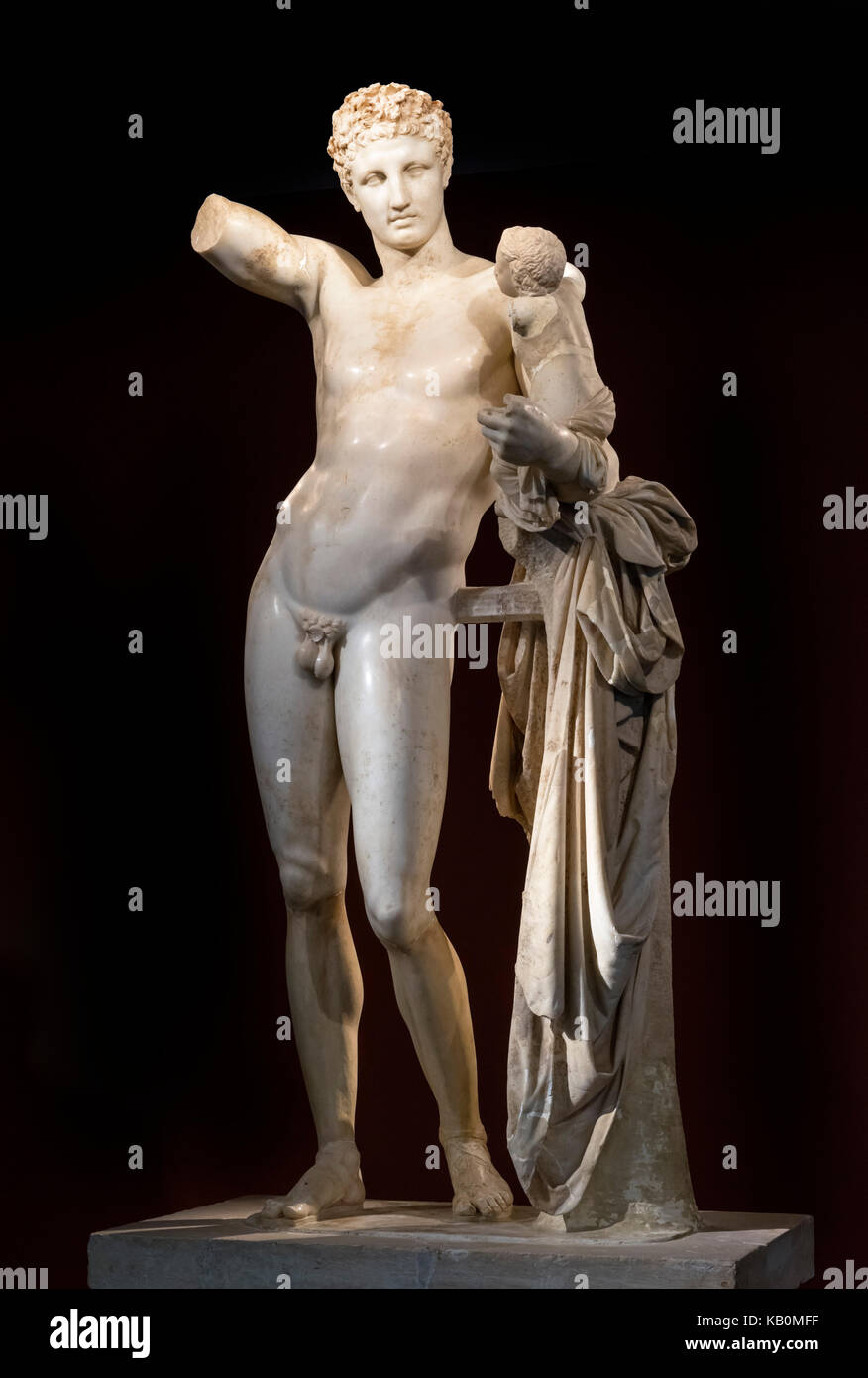 Hermes of Praxiteles sculpture (Hermes and the Infant Dionysus), Olympia, Pelopponese, Greece - Stock Image