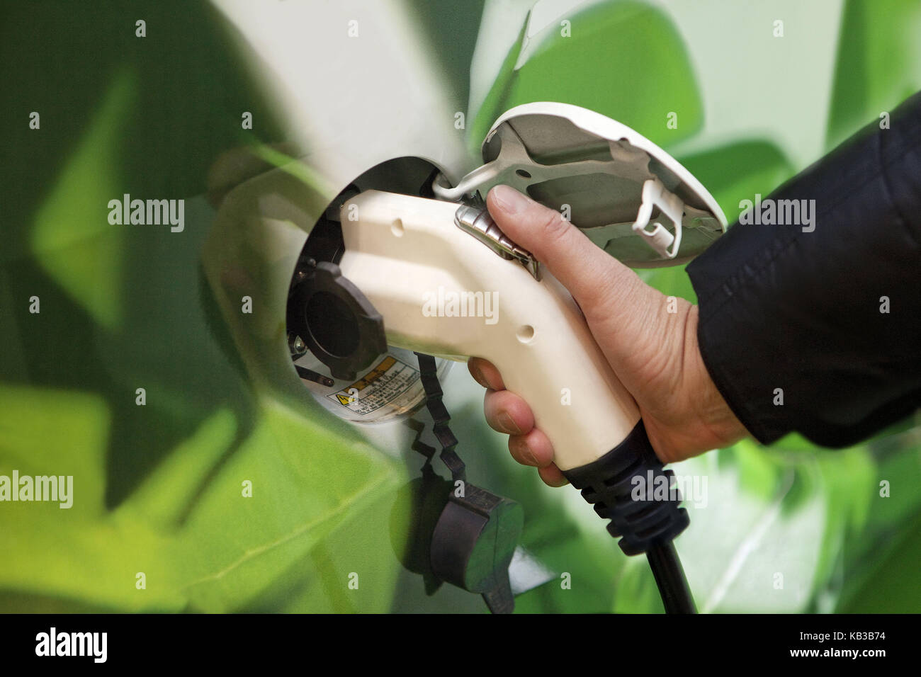 Electric car, charge, medium close-up, biotank, sprite, green, future, biology, icon, biodiesel, bioboom, biosprite, - Stock Image