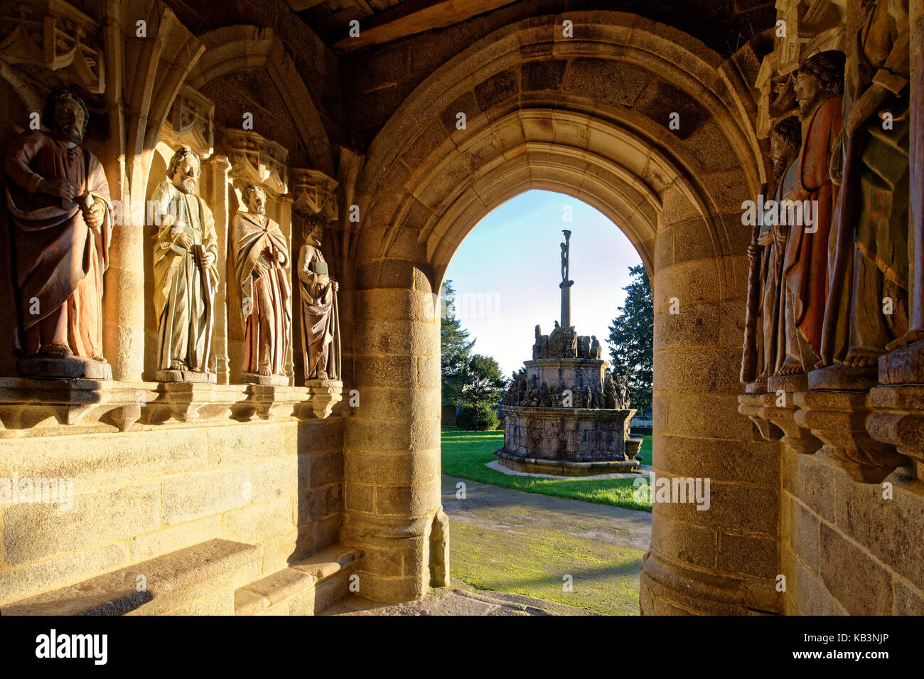 France, Cotes d'Armor, Kergrist Moelan, parochial enclosure, polychrome statues of the apostles under the porch - Stock Image