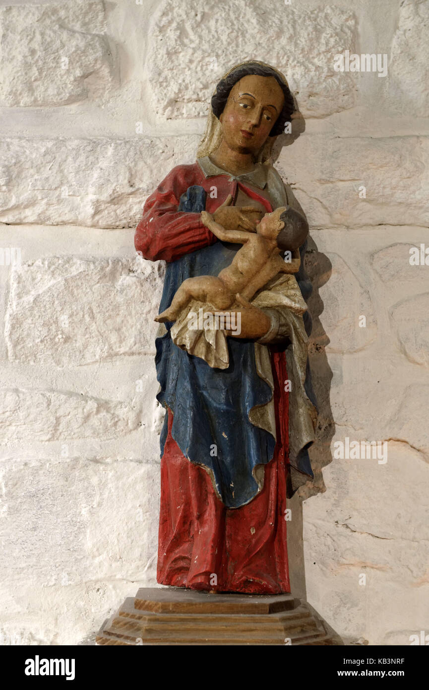 France, Finistere, Combrit, Sainte Marine harbour, Sainte Marine chapel, Wooden polychrome statue of a nursing Virgin - Stock Image