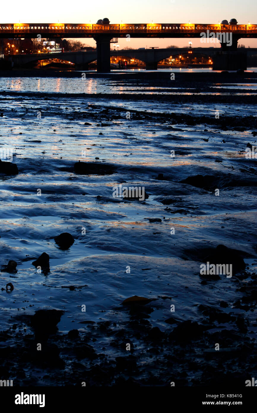 Thames foreshore at low tide at Putney, London, UK - Stock Image