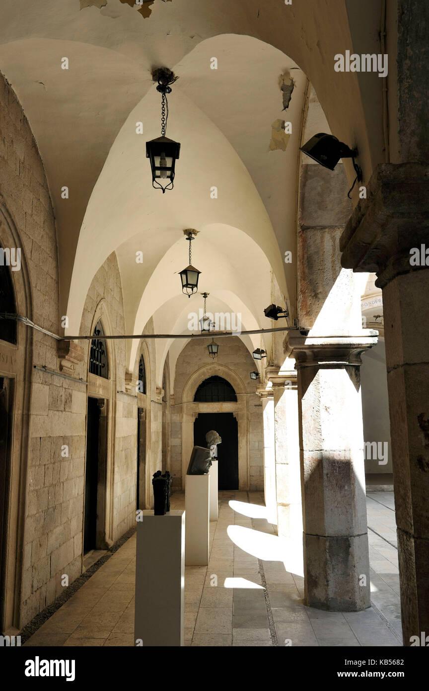 Croatia, Dalmatia, Dalmatian coast, Dubrovnik historical centre, listed as World Heritage by UNESCO, Sponza Palace - Stock Image
