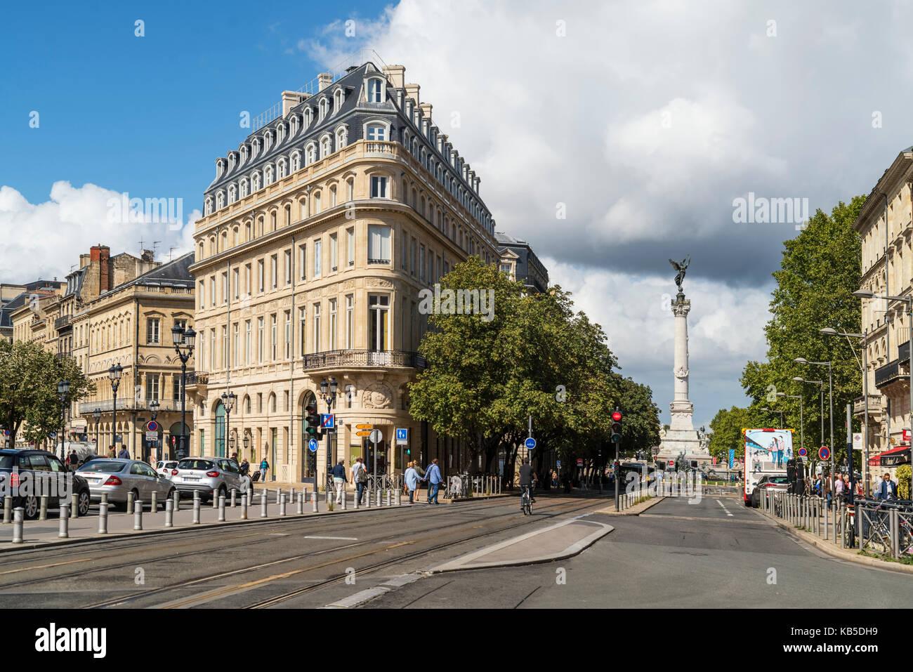 View from Place de la Comedie to Monument aux Girondins, , Bordeaux, France - Stock Image