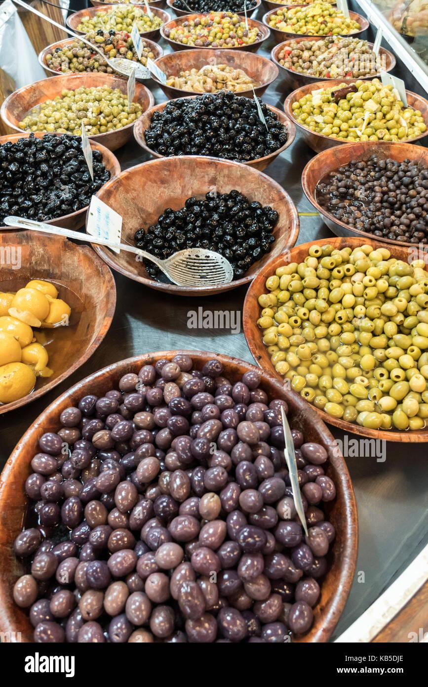 market stall with olives,  Marche de Capucins, Bordeaux, France - Stock Image