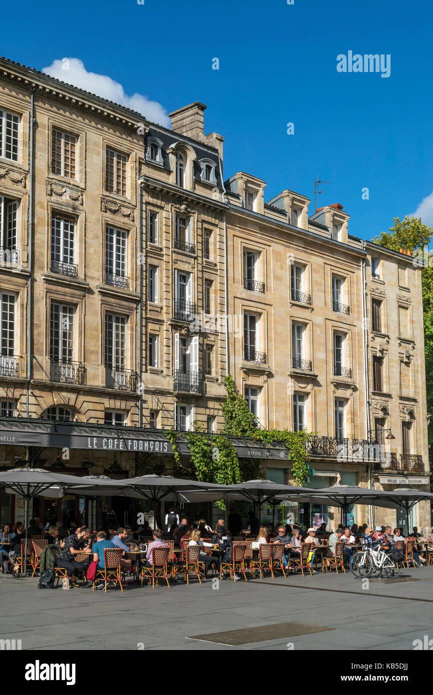 Le Cafe Francais, Place Pey Berland, Bordeaux, France - Stock Image