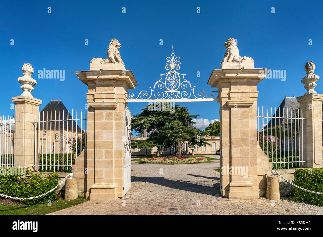 Chateau Beychevelle, vineyards in Medoc, Bordeaux, Gironde, Aquitaine, France, Europe, - Stock Image