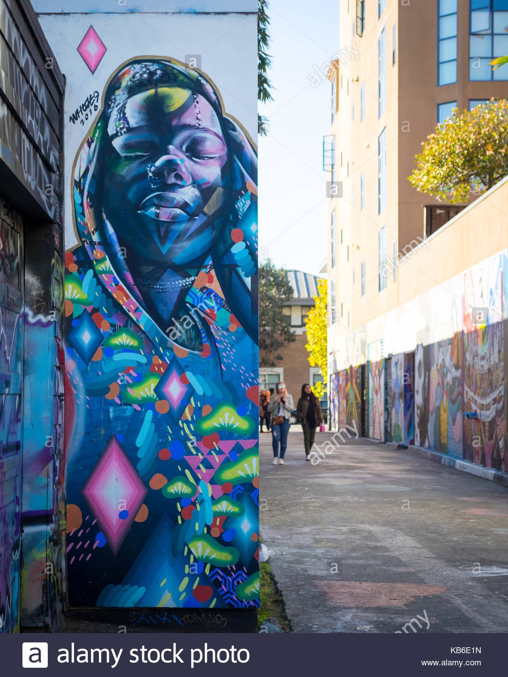 Street art wall murals on Clarion Alley in the Mission District of San Francisco, California. (2016). - Stock Image
