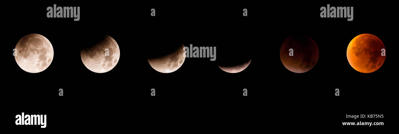 Sequence of the total lunar eclips of 28 September 2015 in The Netherlands, The Netherlands, Utrecht, Utrechtse - Stock Image