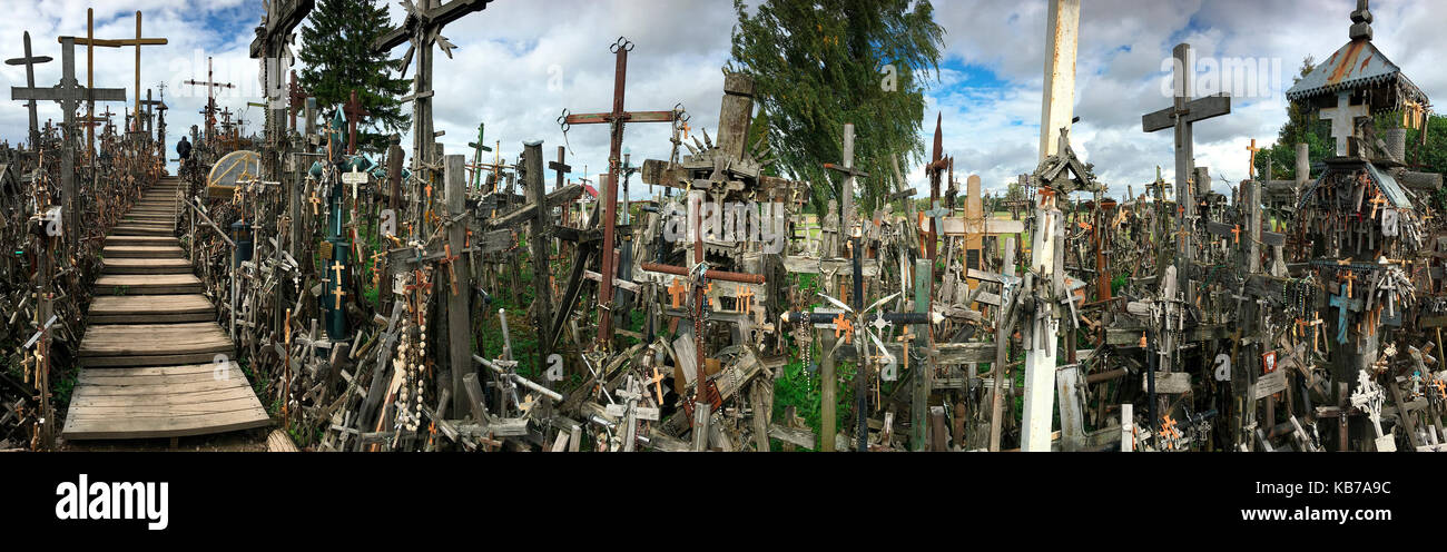 The Hill of Crosses - a site of religious pilgrimage near Siauliai in northern Lithuania. Over the generations, - Stock Image