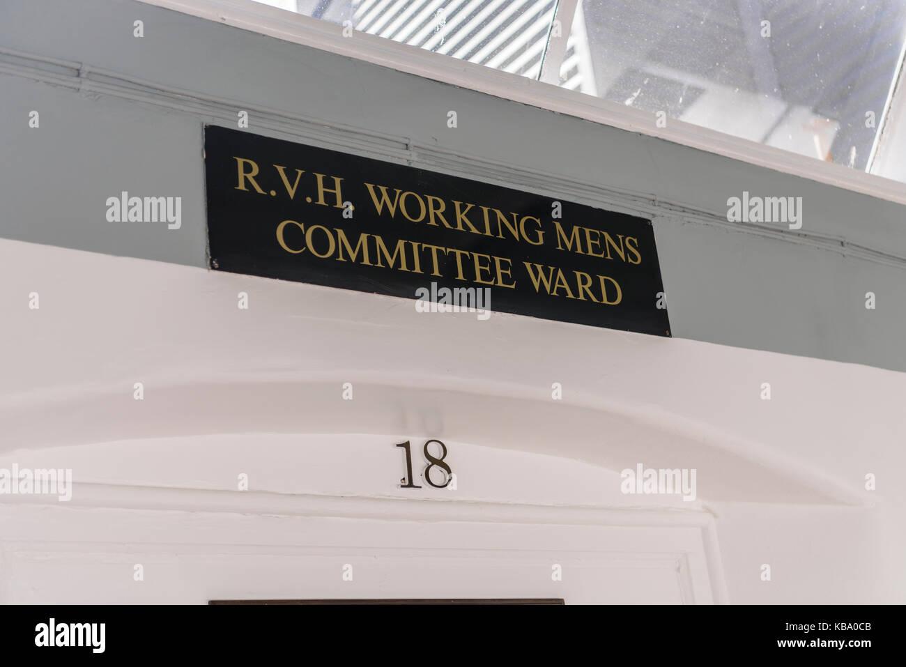 Ward 18 (RVH Working Mens' Committee Ward) at the oldVictorian corridor, Royal Victoria Hospital, Belfast. - Stock Image