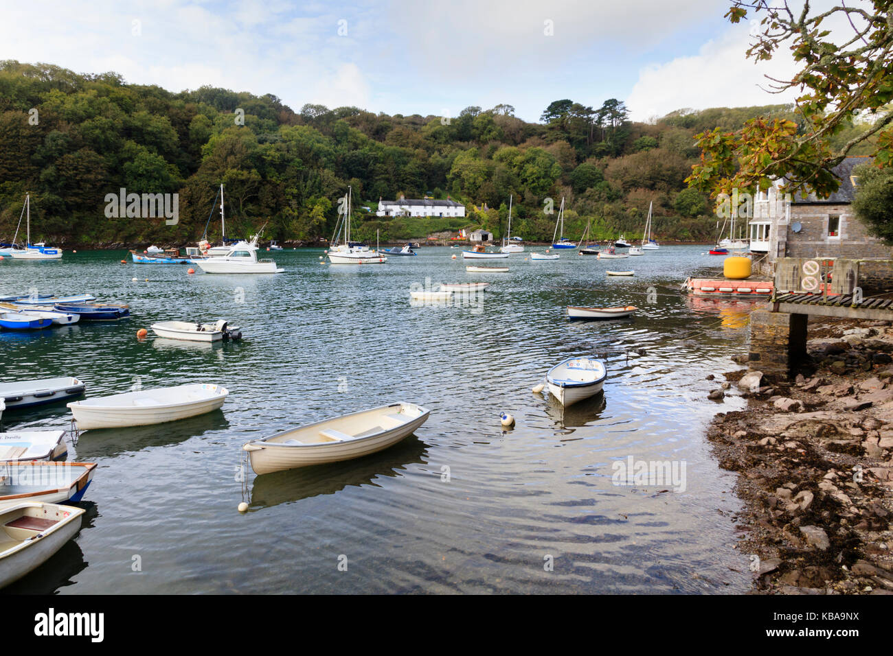 Pleasure craft, dinghies and inshore fishing boats moored at Trebeurden Quay on the River Yealm, Devon, UK - Stock Image