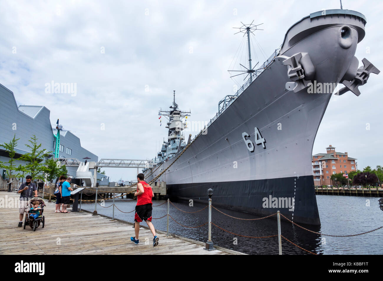 Norfolk Virginia Elizabeth River Downtown waterfront Naticus maritime museum historic battleship USS Wisconsin BB - Stock Image