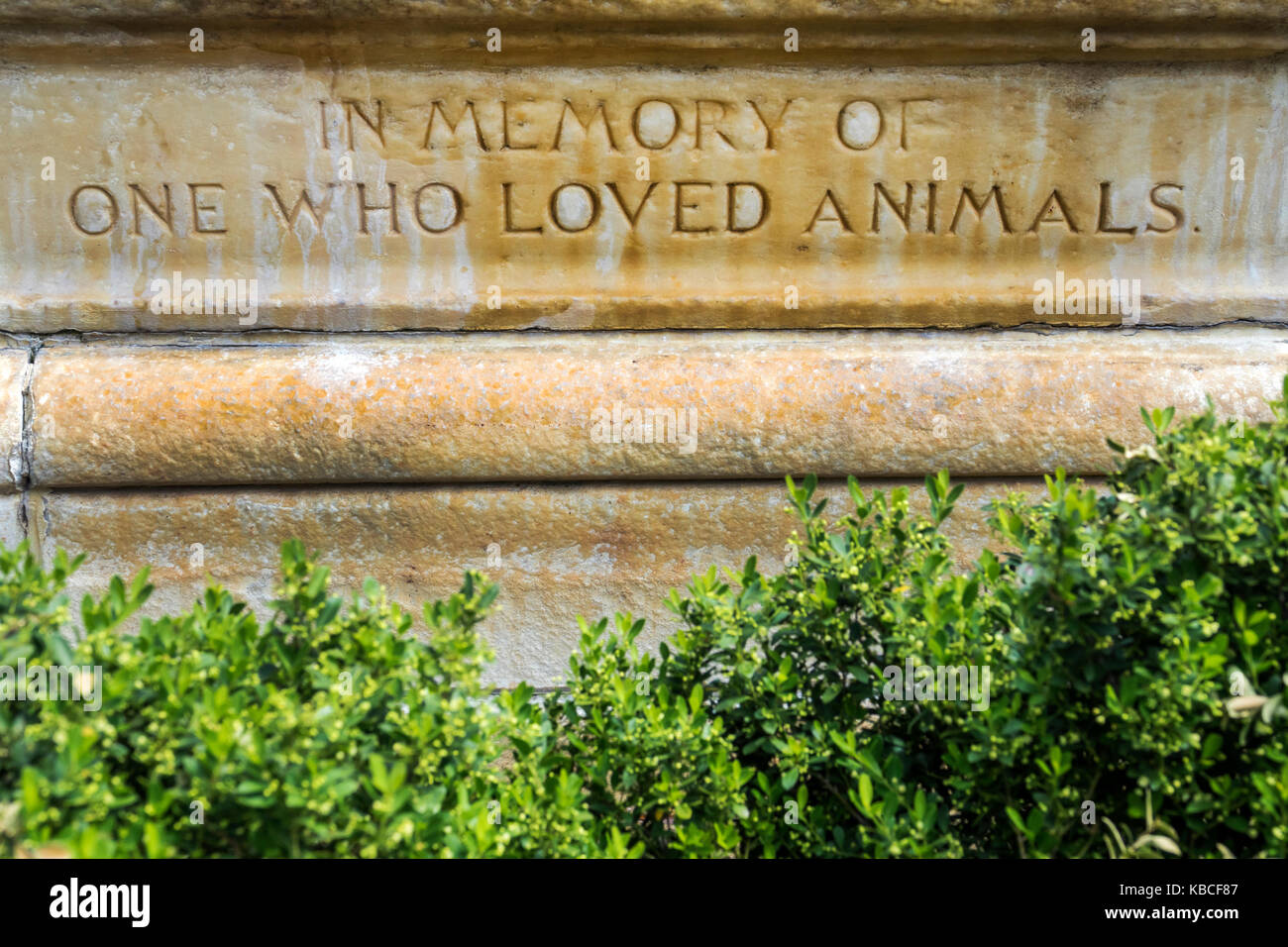 Richmond Virginia Shockoe Slip district Morgan Fountain inscription In memory of one who loved animals - Stock Image