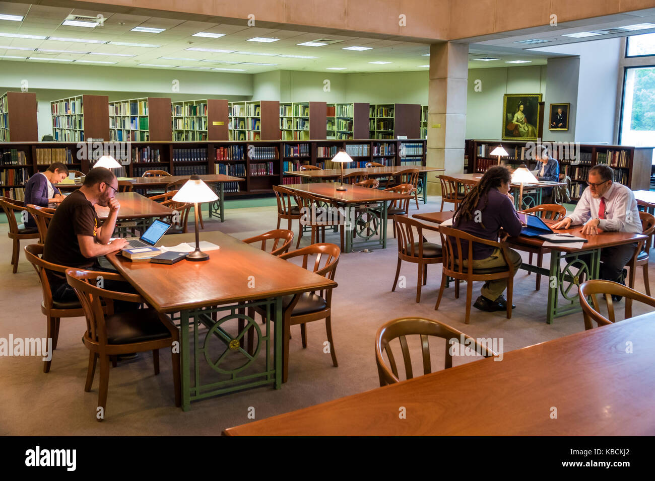 Richmond Virginia Virginia Historical Society museum library reading room interior tables - Stock Image