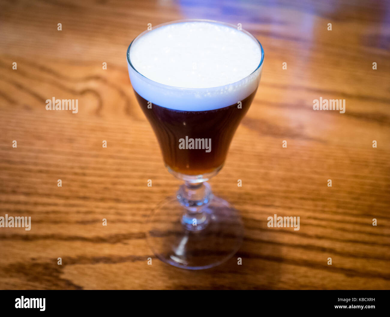 An Irish coffee from the Buena Vista Cafe in San Francisco. The Buena Vista is credited with introducing Irish coffee - Stock Image