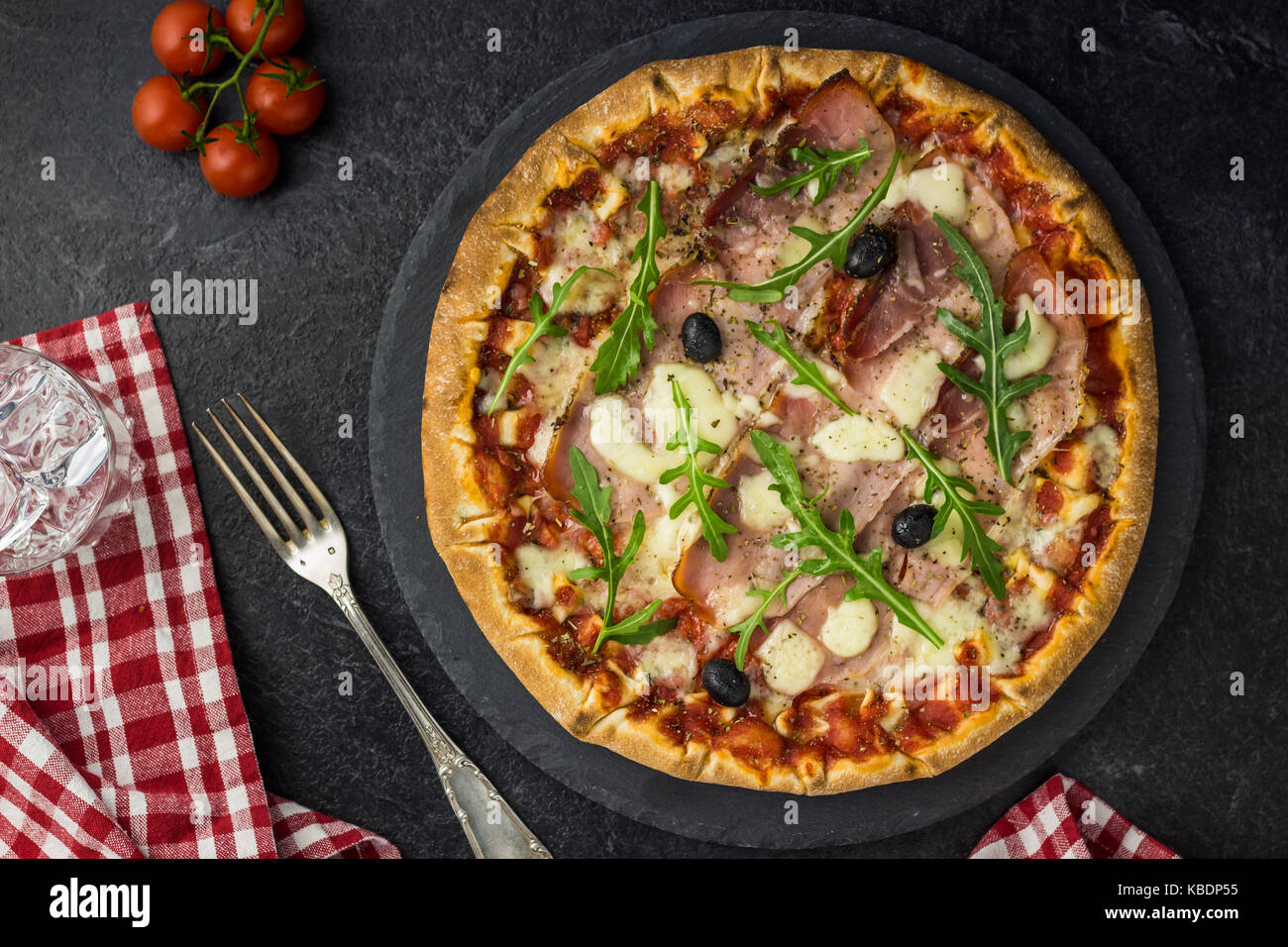 Pizza Tomato ham - Stock Image