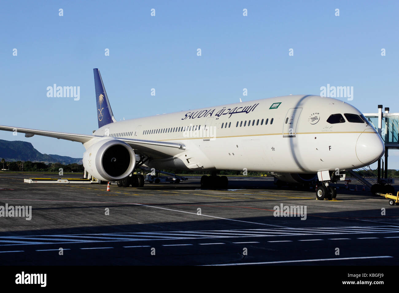 Saudi Arabian Airlines (Saudia) will begin scheduled flights between Riyadh and Jeddah to Mauritius from Sept. 14 - Stock Image