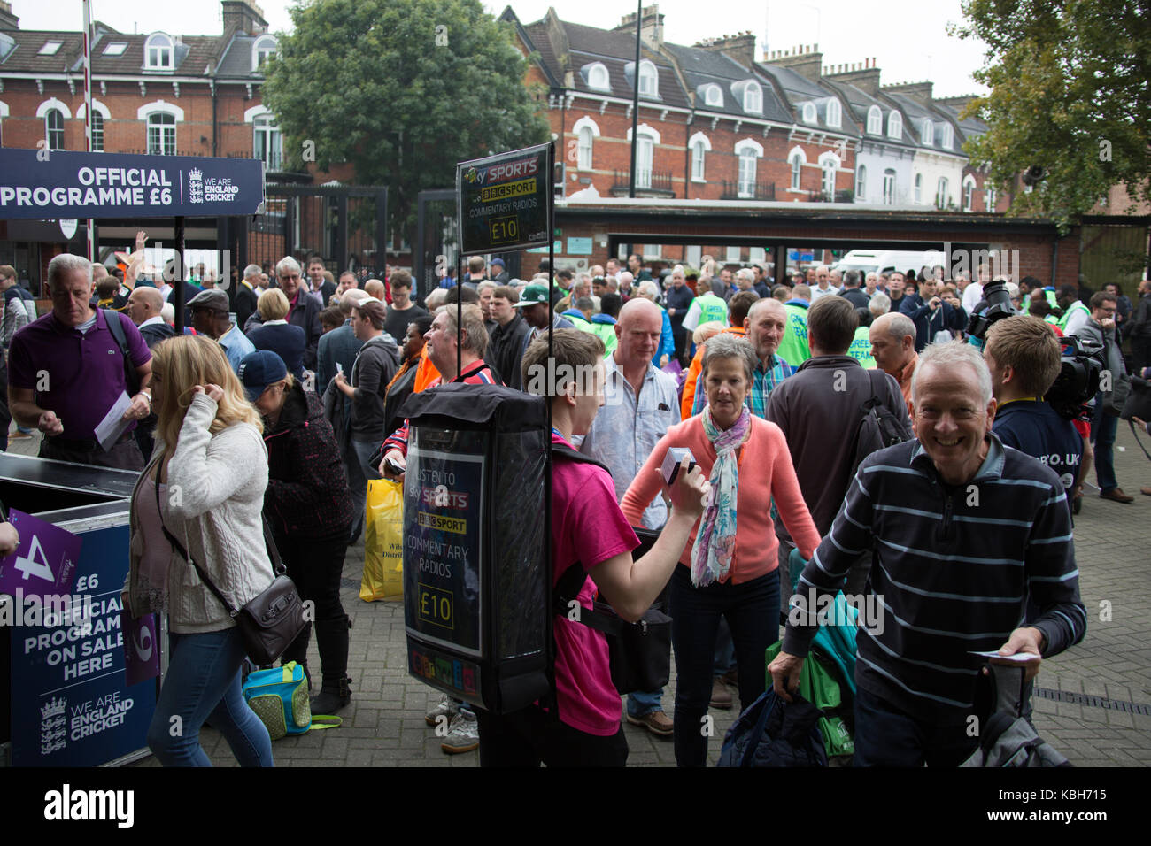 London,UK. 27 September Supporters arriving at the Alex Stewart gate ahead of the game. England v West Indies. In - Stock Image