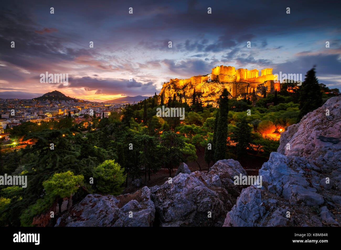 Acropolis and view of Athens from Areopagus hill, Greece. - Stock Image