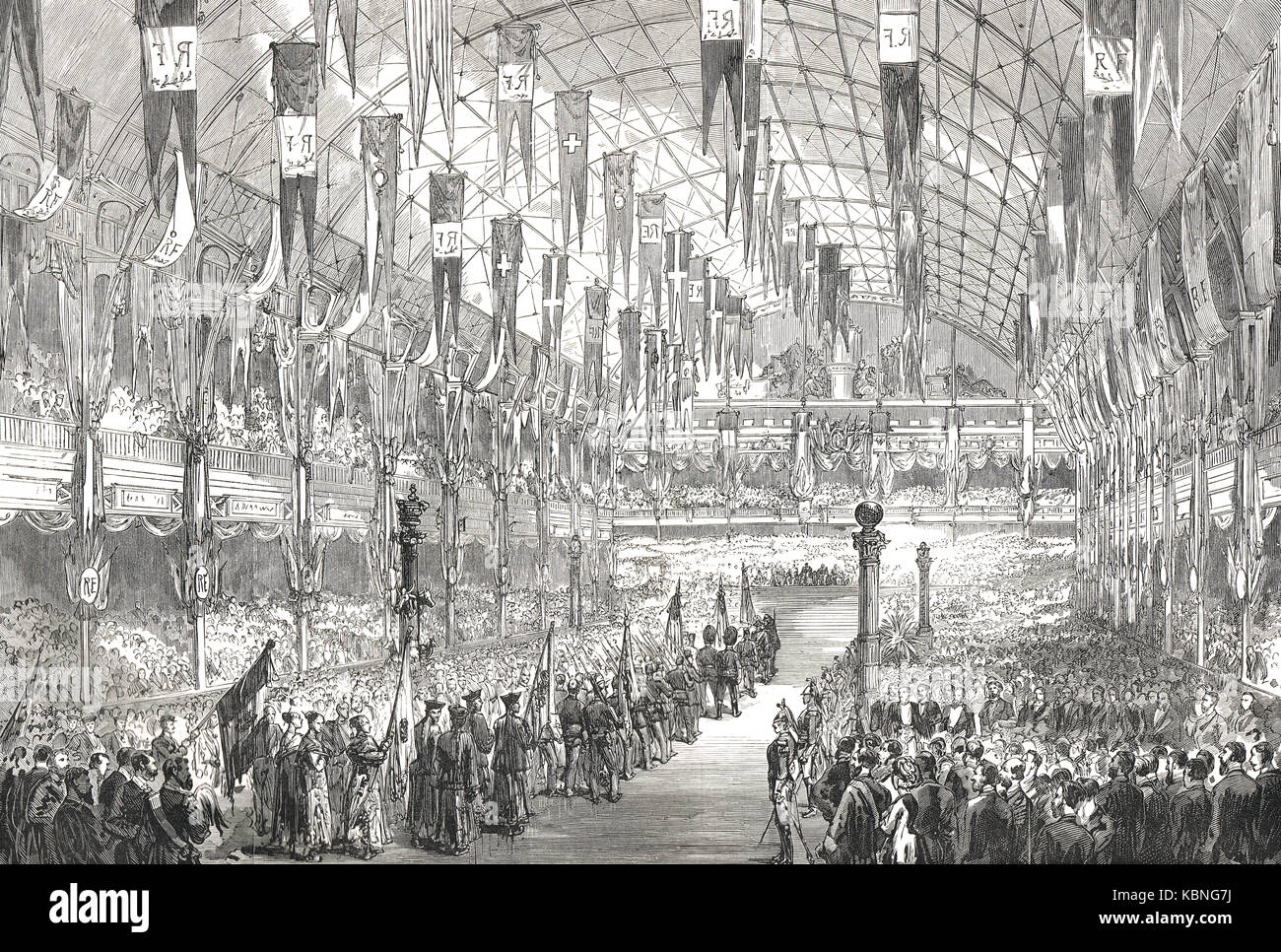 Awarding of prizes, Paris exhibition (Exposition Universelle), 1878 - Stock Image