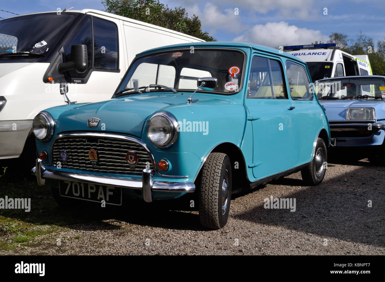 A blue Austin Mini is seen at the Winkleigh site of the West of England Transport Collection Open Day on 6th October - Stock Image