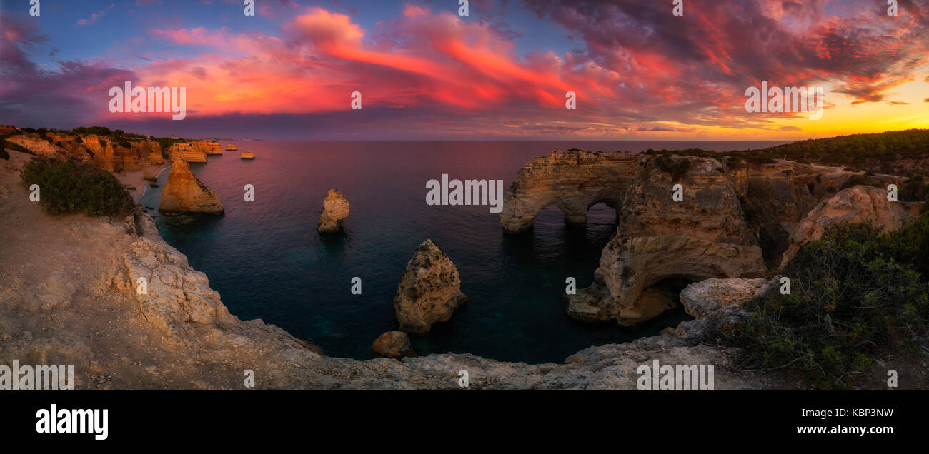 Panoramic view on Sea arch at Algarve in Portugal - Stock Image