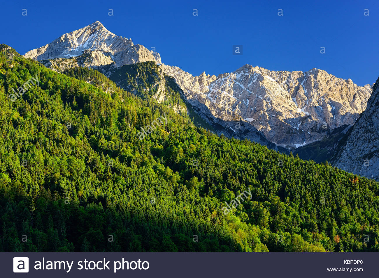 Detailed view at mountain peak Waxenstein. Summer day near Garmisch Partenkirchen. Bavaria, Germany. - Stock Image