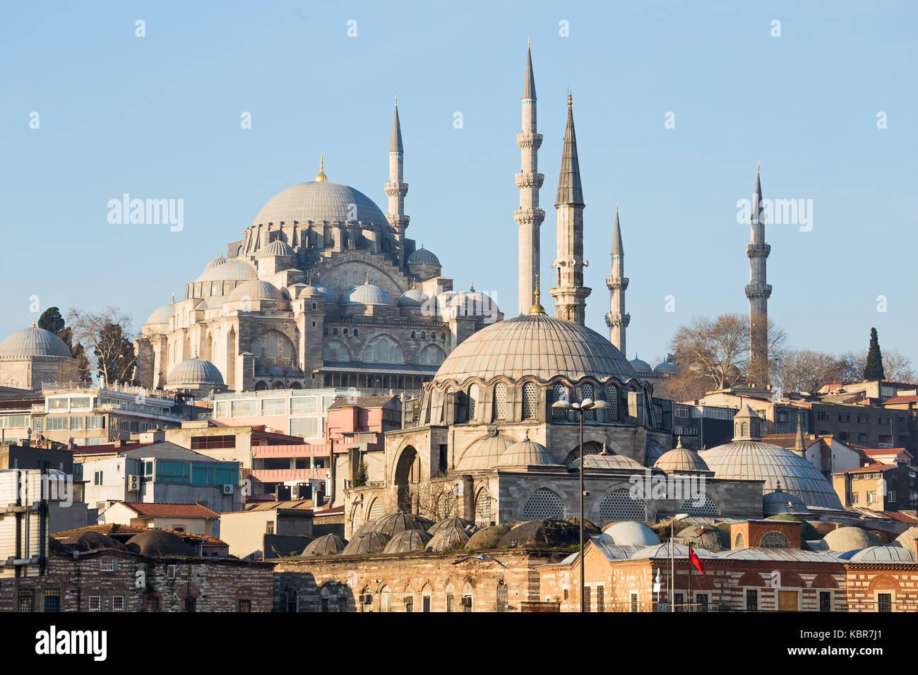Rustem Pasha Mosque and Suleymaniye Mosque, Istanbul, Turkey - Stock Image