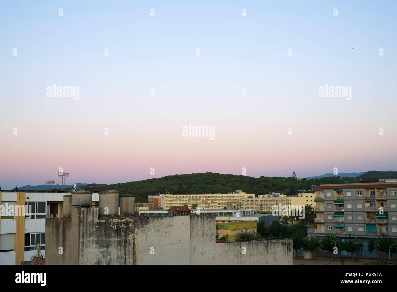Sunrise view from the roof of the Hotel Ninays, Lloret de Mar, Spain Stock Photo