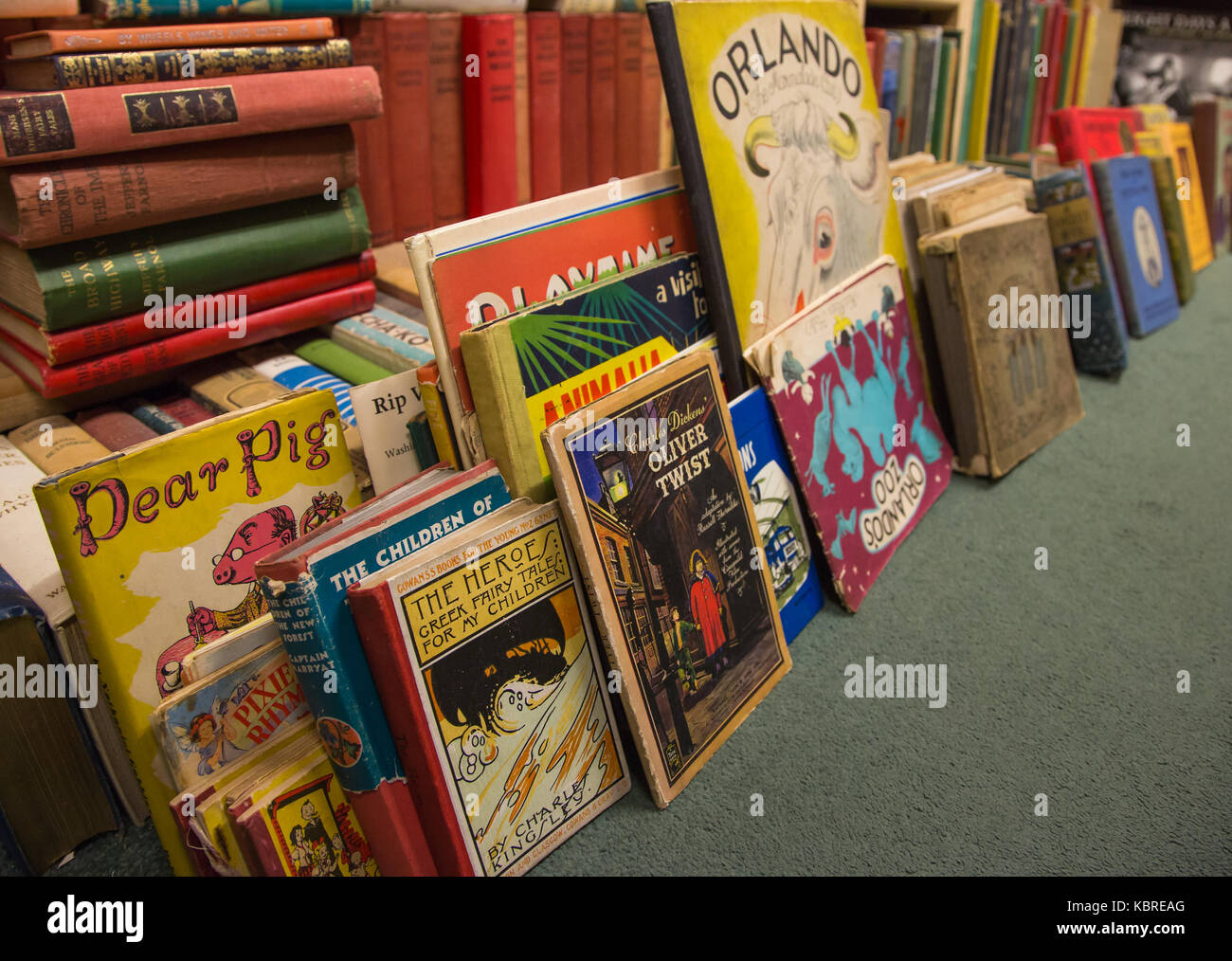 Childrens books in secondhand bookshop - Stock Image