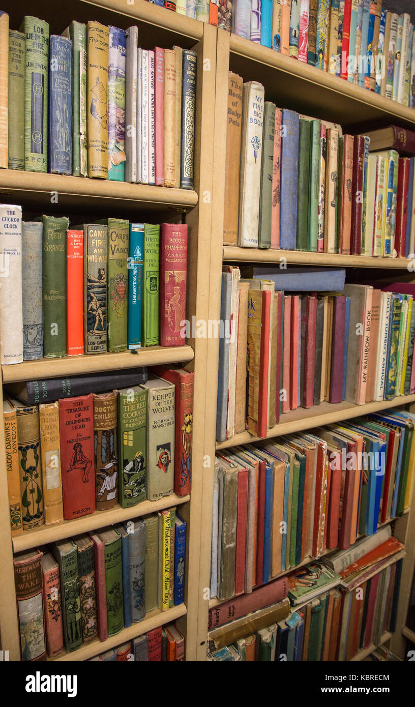 Books in secondhand bookshop - Stock Image