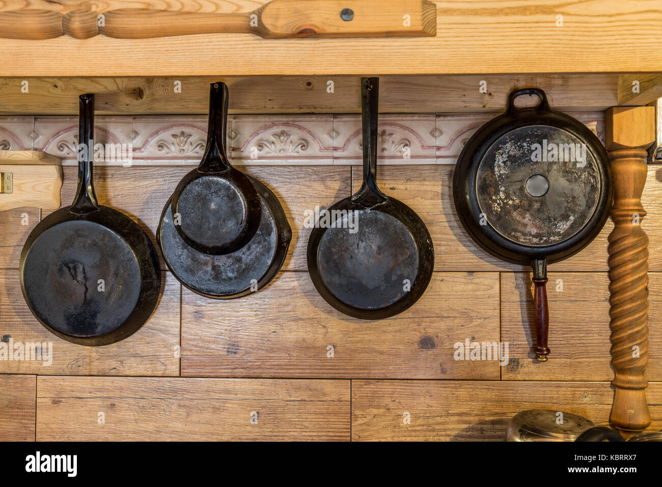 Front view of metal pans - Stock Image