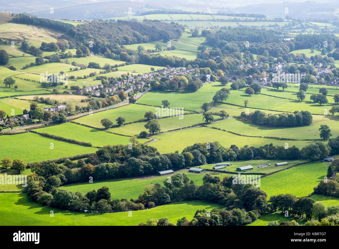 The village of Bamford and the surrounding area seen from Win hill, Derbyshire, Peak District, England, UK - Stock Image