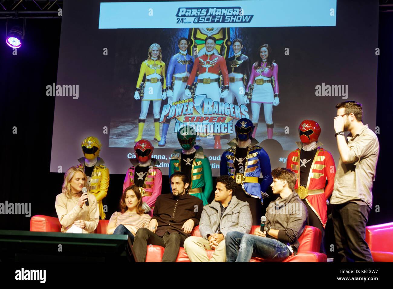 Paris, France, 30th Sep 2017. Power Rangers Megaforce and Super Megaforce Ciara Hanna (Gia Moran), Christina Masterson - Stock Image