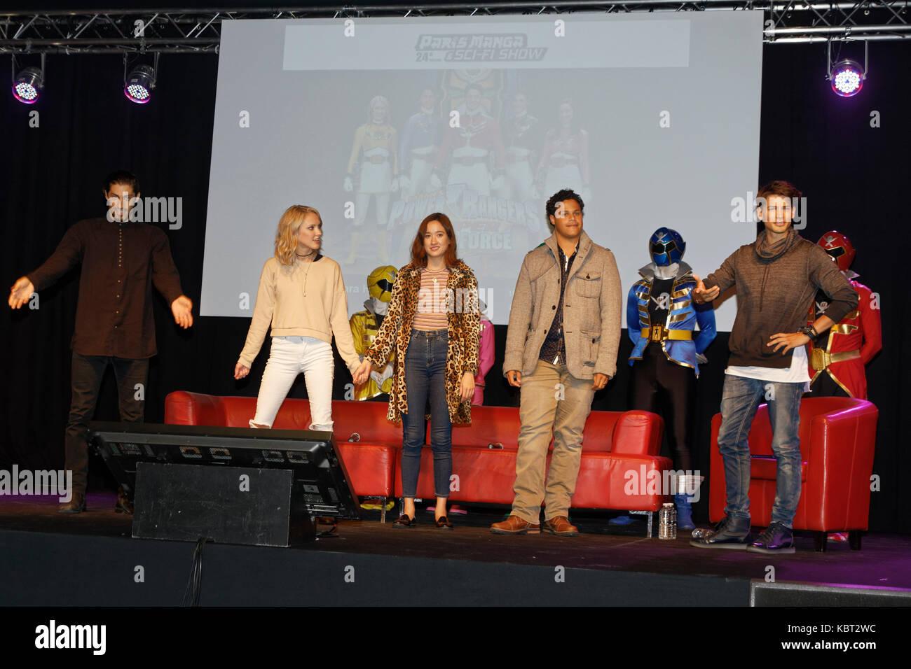 Paris, France, 30th Sep 2017. Power Rangers Megaforce and Super Megaforce Azim Rizk (Jake Holling), Ciara Hanna - Stock Image