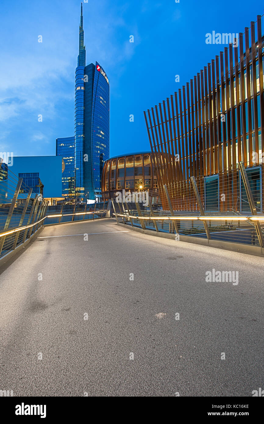 View of Unicredit Tower, Milan, Italy - Stock Image