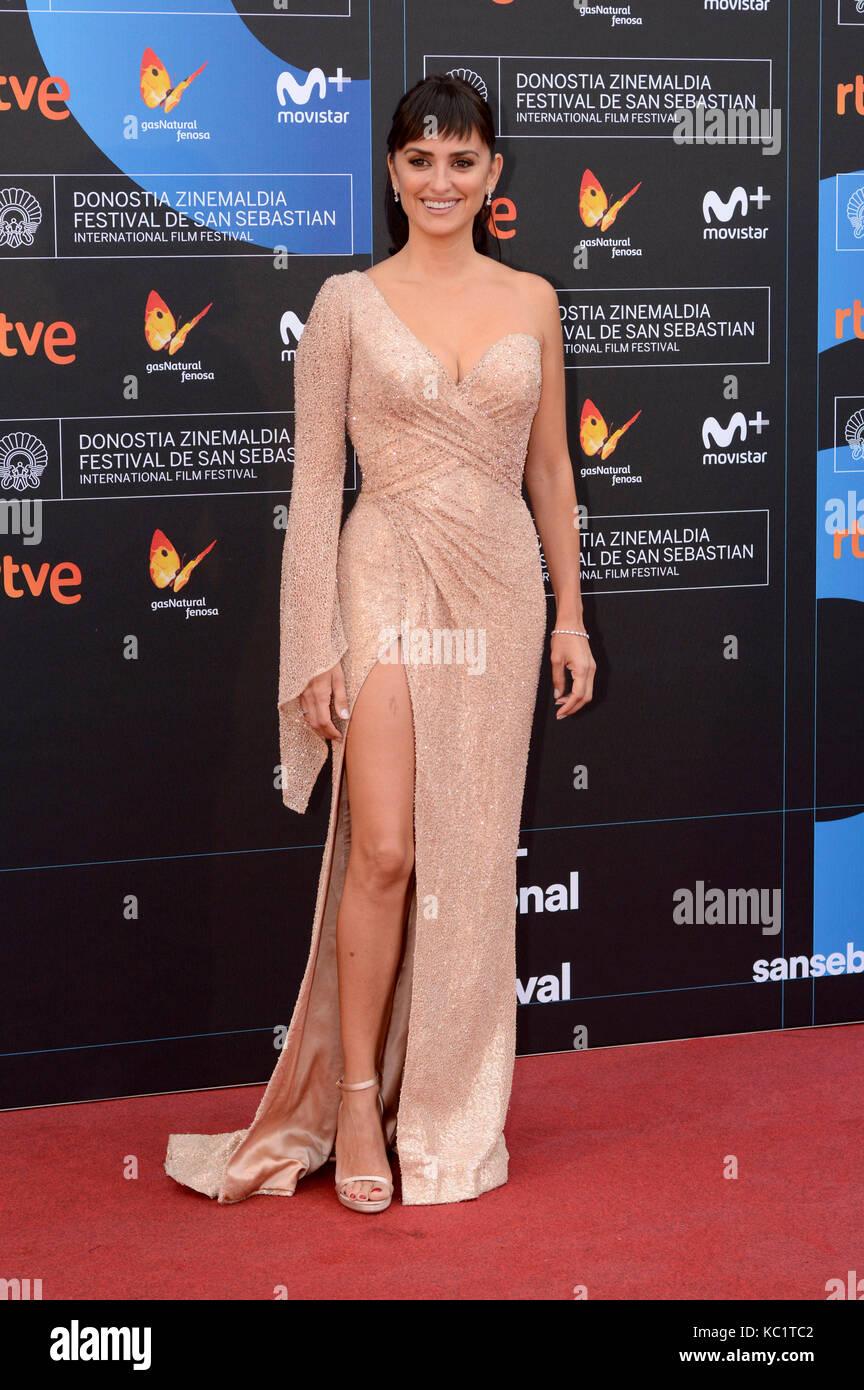 Penelope Cruz attends the 'Loving Pablo' premiere during the 65th Sebastian International Film Festival at Velodrome Stock Photo