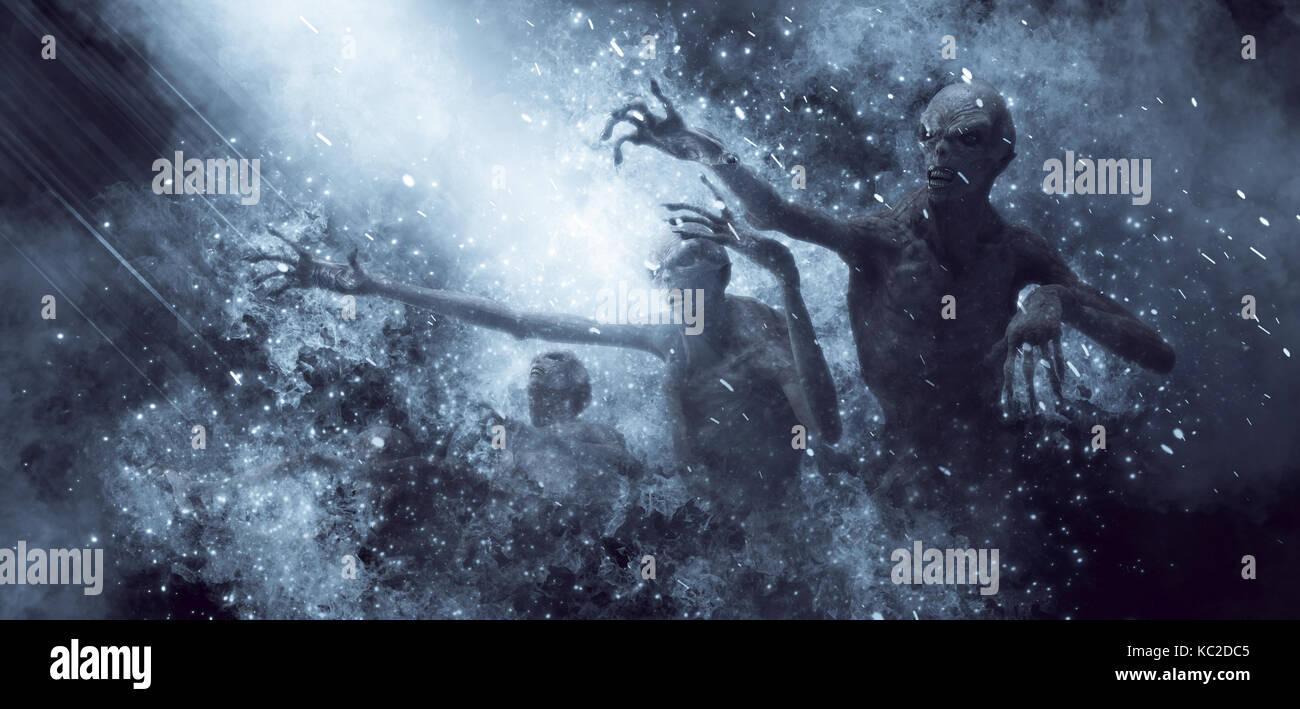 Demons Monsters 3D Illustration - Stock Image