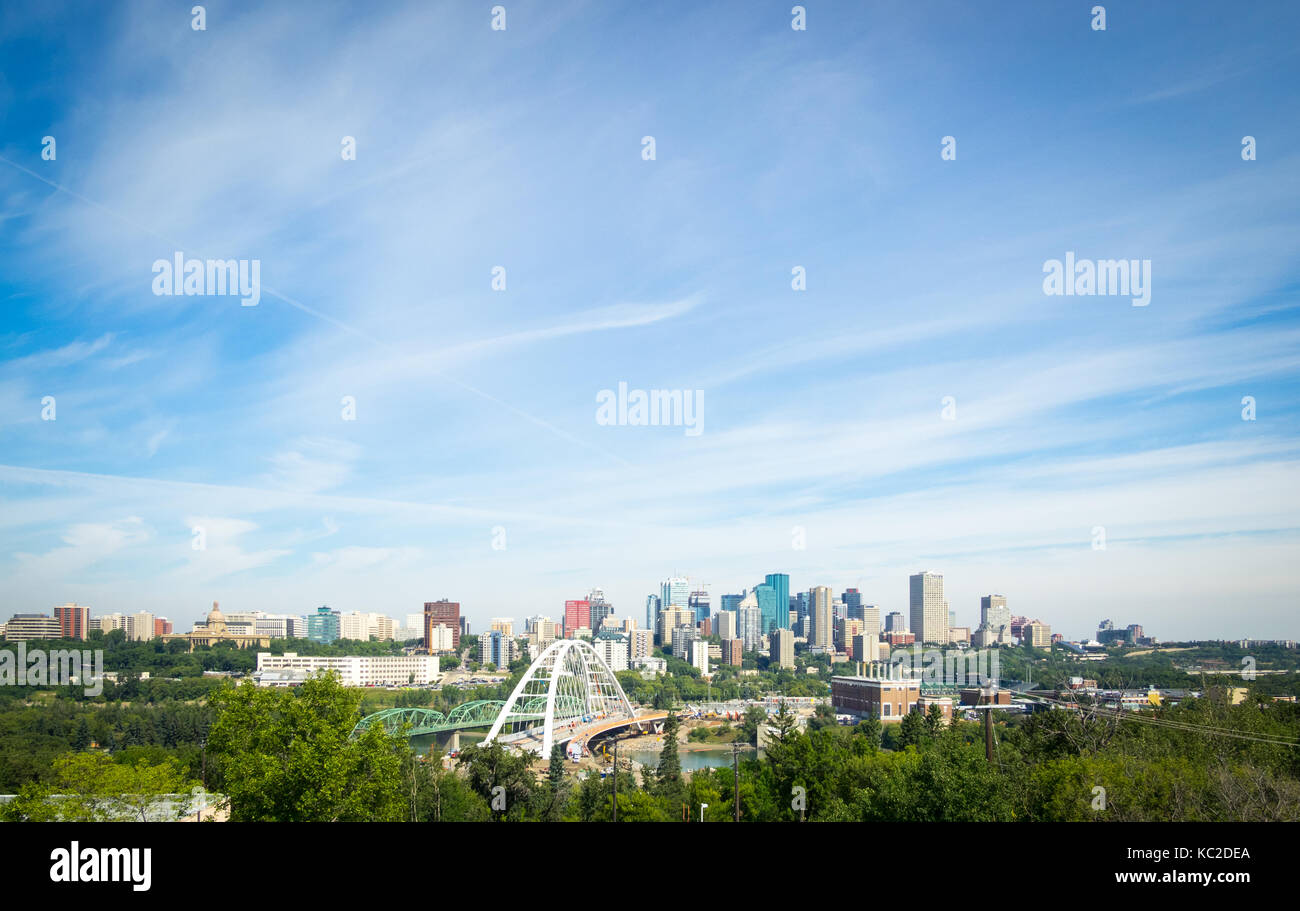 A view of the new Walterdale Bridge and the skyline of Edmonton, Alberta, Canada. - Stock Image