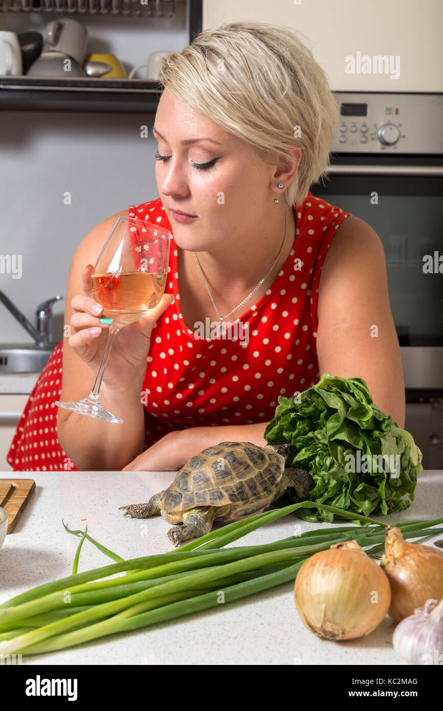 Girl looking  at wine glass while tortoise eats salad - Stock Image
