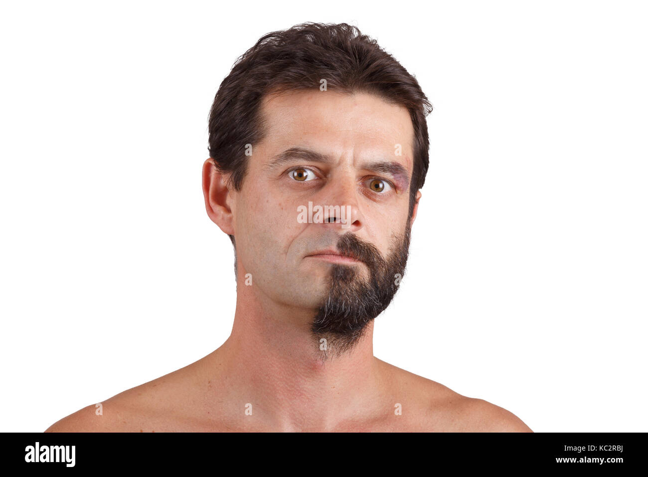 half shaved face