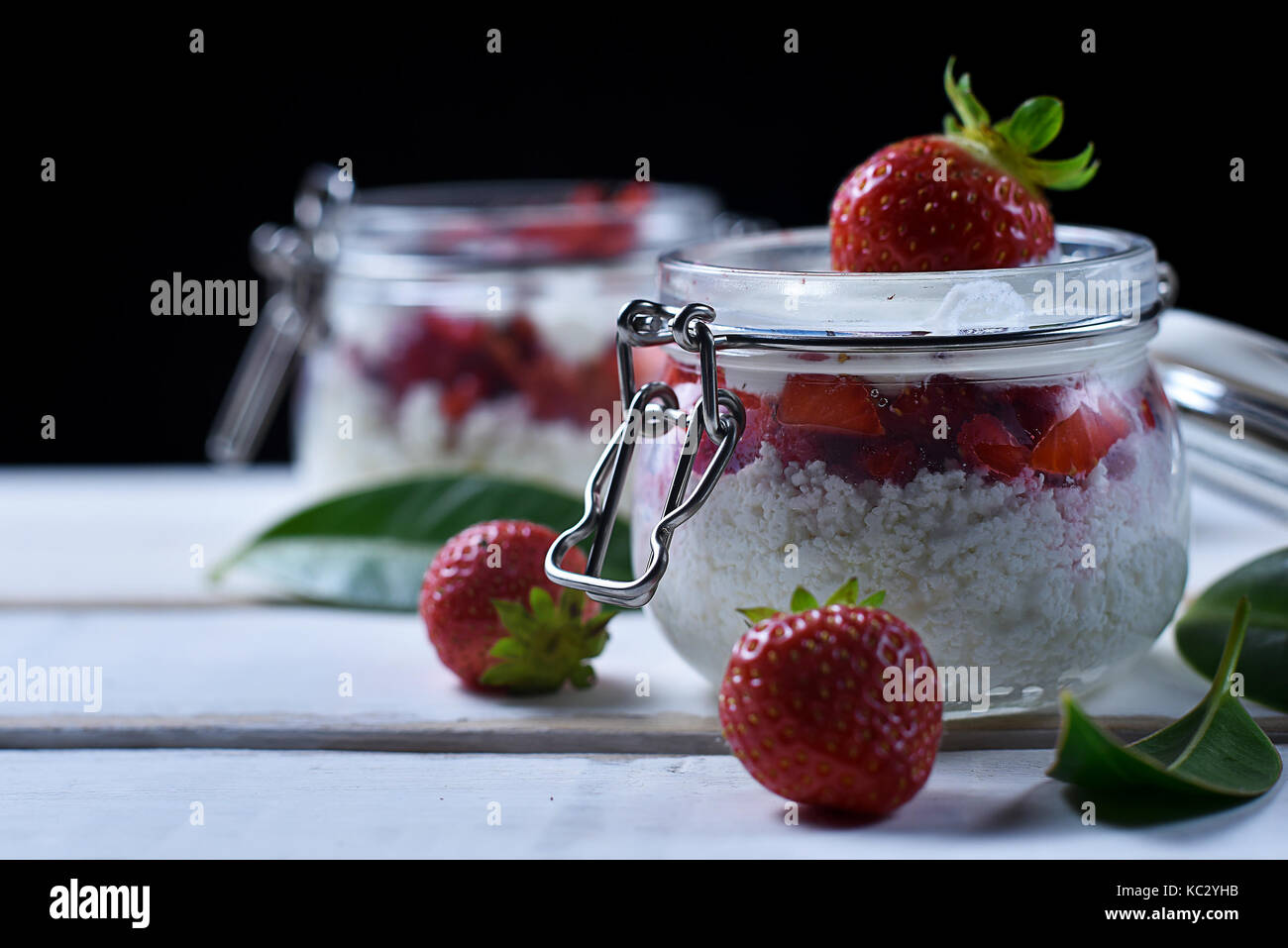 Strawberry dessert on the table - Stock Image